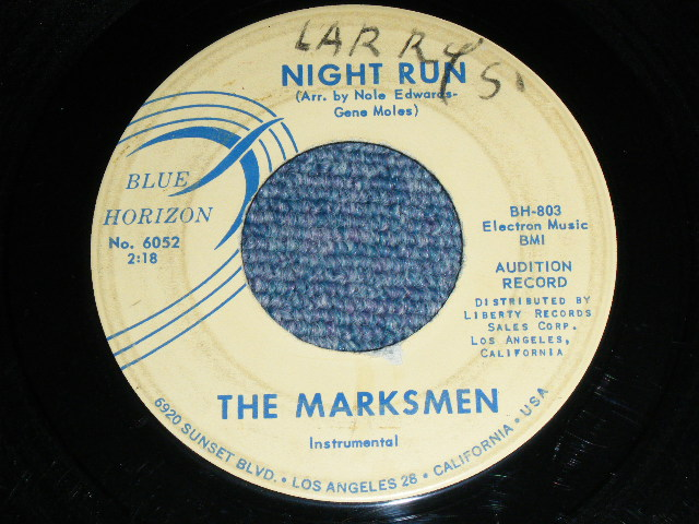 画像1: THE MARKSMEN - NIGHT RUN / SCRATCHE US ORIGINAL PROMO Single With BLUE PRINTING on TITLE