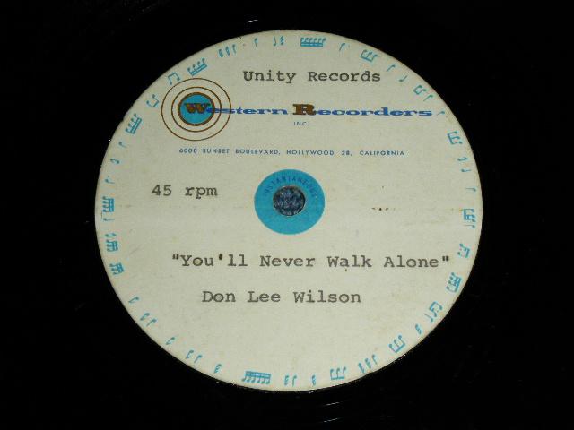 """画像1: DON LEE WILSON -  YOU'LL NEVER WALK A LONE( UNRELEASED DIFFERENT VERSION )  / FEEL SO FINE   : 1960's US ORIGINAL  TEST PRESS for ACCETATE 8"""" Single"""