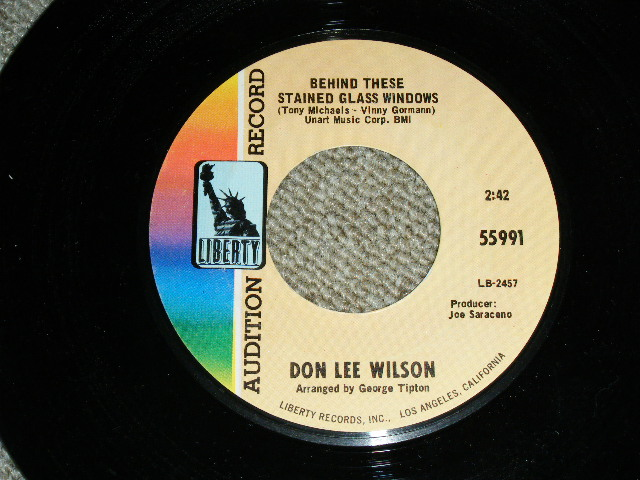 画像1: DON LEE WILSON -  BEHIND THESE STAINED GLASS WINDOWS ( SMALL  STYLE LOGO ) / KISS TOMORROW GOODBYE   :    1967  US ORIGINAL Audition Promo 7 Single