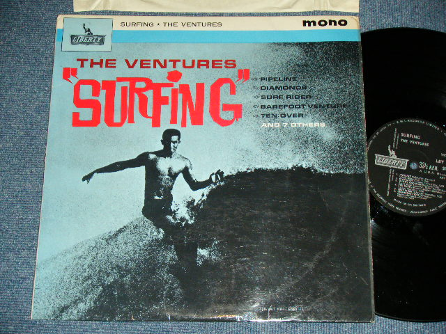 """画像1: """"SURFING""""  UK UNITED KINGDAM / ENGLAND Pressings BLACK Label : With LARGE """"MONO"""" PRINT on FRONT COVER"""
