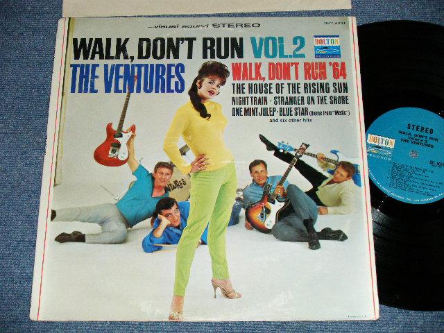 """画像1: WALK DON'T RUN VOL.2 : 2nd press Version NON SWEAT SHIRT 1965 Version US AMERICA 2nd press Version  """"BLUE with BLACK PRINT Label"""" STEREO"""