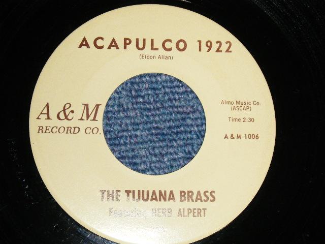 """画像1: THE TIJUANA BRASS Featuring HERB ALPERT - A) THE LONELY BULL (with MEL TAYLOR) B) ACAPULCO 1922    :1962 US AMERICA ORIGINAL 7"""" Single"""