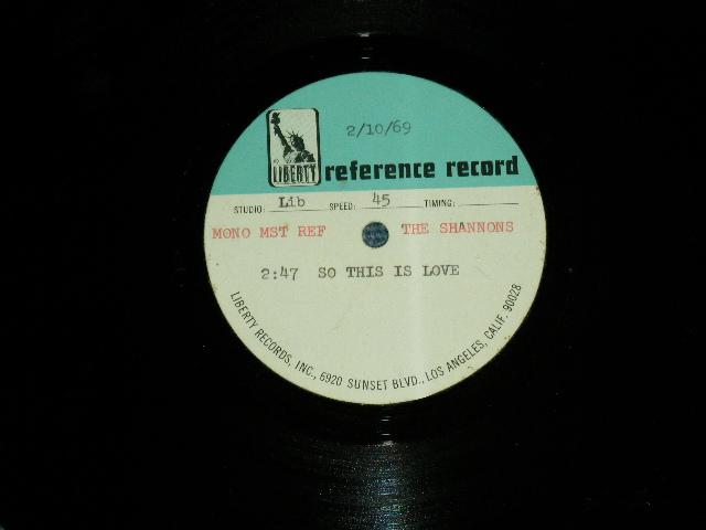 """画像1: THE SHANNONS ( Produced by MEL TAYLOR of THE VENTURES ) - SO THIS IS LOVE     1969 US ORIGINAL One Sided TEST PRESS for ACCETATE 10"""" Single"""