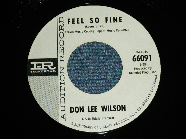 画像1: DON LEE WILSON -  FEEL SO FINE / ANGEL        1965  US ORIGINAL White Label Promo 7 Single
